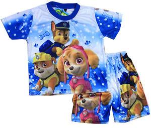 NEW SZ 4-6 KIDS PYJAMAS SUMMER NIGHTIE BOYS PAW PATROL BLUE PJ PJS GIFT TOP TEE