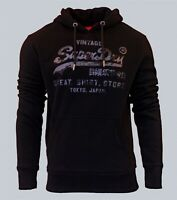 Superdry Mens Vintage Logo Shirt Shop Bonded Hoodie Overhead Sweatshirt Black