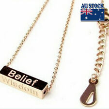 New 18K Rose Gold GF Wisdom Courage Belief Luck Bar Pendant Charm Necklace Chain
