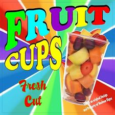 "Fruit Cups Decal 14"" Concession Market Food Truck Fair Vinyl Menu Sticker"