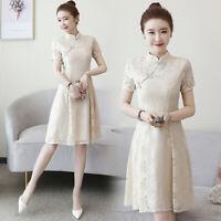 Women's Lace Dress Short Sleeve Slim Embroidery Cheongsam Sundress M-4XLXDD