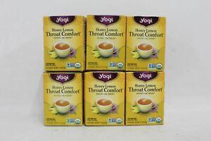 YOGI Throat Comfort Honey Lemon Caffeine Free Herbal Tea Bags x16 BNIB x6