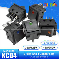 KCD4 4/6PIN 16A/30A 250V 2/3 Position Rocker Boat Switch ON/OFF DPST/DPDT 25*31