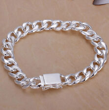 Siver Plated Mens or Womens Heavy Link 8 inch 10mm Bracelet.