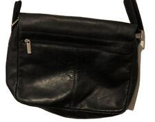 Bass Leather Womens Black Cross Body Handbag