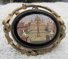 MAGNIFICO ANTICO ITALIANO 19th secolo Micro Mosaico Piazza San Pietro Spilla