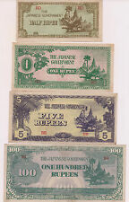 Four Japanese Occupation Burma One half,One,Five and 100 Rupees Banknotes!!