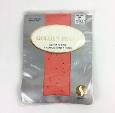 Golden Pearl Ultra Sheer Fashion Panty Hose Size Tall Orange Red Polka Dot