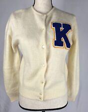 "0a3ccc3e5a Vintage GAP Women s Cardigan Sweater Lambswool Angora Ivory Medium ""K""  Letter"