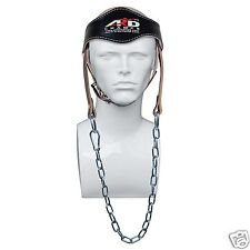 ARD CHAMPS™ Gym Weight Lifting Head Neck Strength Harness Strap Leather BLACK