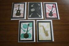 5 MUSICAL INSTRUMENTS MINI CARD NOTELETS HANDMADE BLANK GREETING HAND CRAFTED