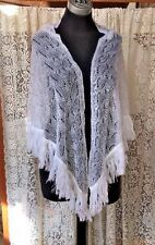"""Beautiful White Lacy Fringed Vintage Shawl by  """"Specialty House Fashion"""""""