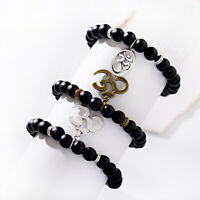 Charm Men's 8mm Lava Stone Buddha Beaded Bangle Lucky Energy Healing Bracelets