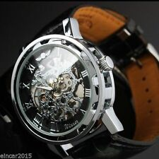 Fashion Mens See through Skeleton Mechanical Sport Army Wrist watch Dress Gift