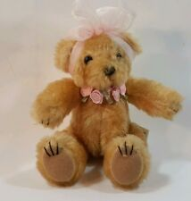 """Ganz Small Plush Stuffed Jointed Teddy Bear Pink Sheer Bow Roses 6.5"""" Bc7391"""