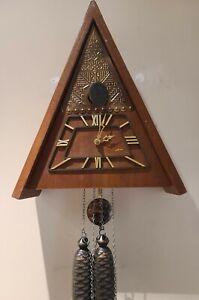 Vintage 1974 Mid Century Modernist Style Chalet Cuckoo Clock Wall Clock Germany