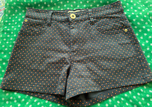 River Island Shorts Sz 10/36 Navy With Orange Spot Preowned