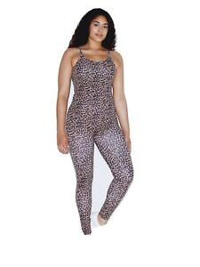 American Apparel Women's Cotton Spandex Sleeveless Unitard- Cheetah, Medium
