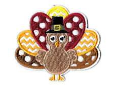 """Turkey - Thanksgiving - Fully Embroidered Iron On Applique Patch -  3""""W"""