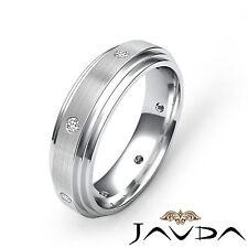 Step Edges Mens Eternity Wedding Band Shining Diamond Solid Ring Platinum 0.16Ct