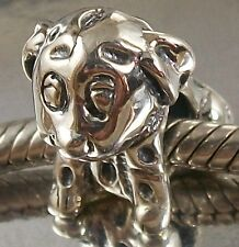 925 STERLING SILVER cute spotty DOG European slide on CHARM BEAD oxidised finish