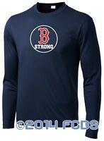 B Strong Boston Marathon Men's Comp Long Sleeve Navy T-Shirt Tribute to Runners