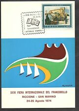 CARTOLINA FIERA FRANCOBOLLI RICCIONE SAN MARINO QUADRATO 1974 DISEGNO CUMO