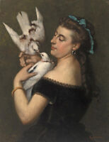 Woman with Pigeons Gustave Courbet Painting Print Canvas Giclee Reproduction Art