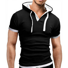 Mens Slim Fit Short Sleeve Shirts Hooded Muscle Tops Hoodie Casual Basic T-shirt