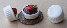 1:12 único Fresa Y Chocolate Mousse Casa de muñecas en miniatura accesorios