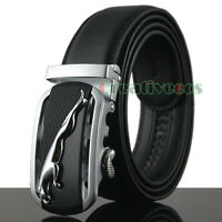 New Men Dress Business Leapord Auto Lock Buckle Genuine Leather Waist Strap Belt