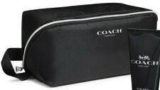 NEW COACH BLACK MENS POUCH TRAVEL BAG WITH SILVER LOGO LARGE