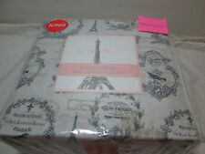 New Jacqueleen King Sheet Set France Provence ~ Eiffel Tower, Bird, Dragonfly