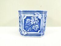 Blue and White Planter Octagon Ceramic Leaf Design