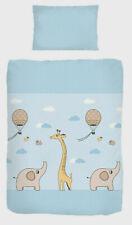 Baby-Bettwäsche 100x135 cm Giraffe Elefanten Ballon blau BIBER