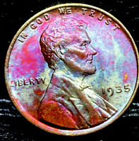 "1935 P Lincoln Wheat Penny Cent- ""Beautiful Color"" SUPERB MS GEM BU 00"