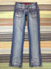 Jezzian Floral Embellished Distressed Straight Leg Low Rise Blue Jeans (29x33)