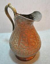 Original Old Antique Hand Crafted Engraved Copper Kashmiri Big Serving Jug Pot