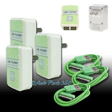 3X 4 USB PORT WALL ADAPTER+6FT CABLE POWER CHARGER GREEN FOR IPHONE 4S IPOD IPAD