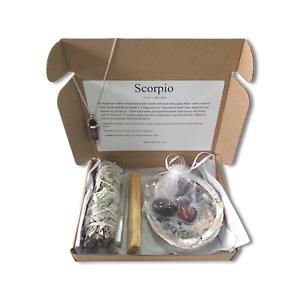 Scorpio Zodiac Crystal & Smudge Gift Set - Scorpio Crystals, Star Sign Scorpio