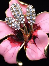 """RHINESTONE TROPICAL ISLAND PINK RED LILY HIBISCUS FLOWER PIN BROOCH JEWELRY 2"""""""