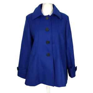 TG Women's Plus Size 24 Blue Button Front Lined Coat Jacket with Pockets NEW
