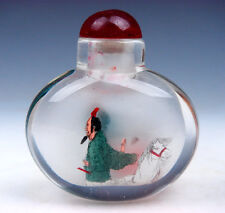Peking Glass Inside Reverse Hand Painted Figurines Horse Snuff Bottle #01021612