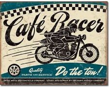 CAFE RACER- DO THE TON!  -  ANTIQUE-FINISH METAL WALL SIGN 40X30cm BSA/TRIUMPH