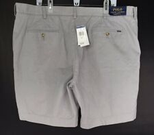 NWT Mens Polo Ralph Lauren Sz 42 Soft Gray Cotton Shorts Flat Front