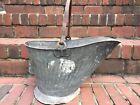 Vintage Rustic Fireplace Coal Scuttle Ash Bucket Pail Primitive
