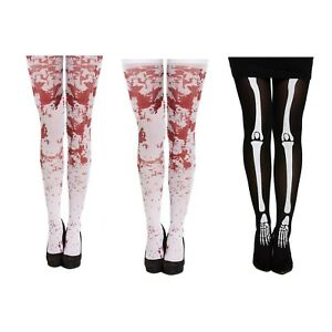 Halloween Fancy Dress Womens Tights & Stockings Skeleton OR White Blood Stains