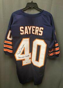 "Gale Sayers "" Kansas Comet "" Signed Bears Jersey AUTO Sz XL BAS Sticker ONLY HOF"