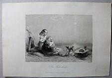 """Zwei Mädchen mit Hund """"Fischerkinder"""" - Stich, Stahlstich von A.H.Payne um 1870"""