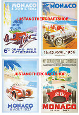 Monaco Grand Prix 1934 1936 1937 1957 Set of 4 Posters Adverts Signs A4 Size